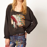 2013 NEW Fashion Punk Sweatshirt Women Hoodies With Skull Indian Chief Pattern Women Pullover HD05