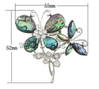 Free shipping!!!Abalone Shell Brooch,Korean, with Brass, Flower, platinum color plated, with rhinestone, 55x52x16mm, 5PCs/Lot