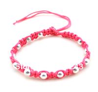 Hemp braided handmade waxed plastic beaded friendship bracelets mixed color