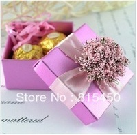 Free Shipping 30 pcs/lot Wedding Favors Candy Box Gift Purple Ribbon Unique Design Wedding Supplies Cute Best Selling Style