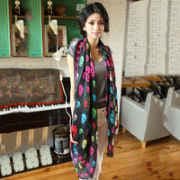Smiley skull silk scarf the summer air conditioning cape faux silk scarf fashion satin