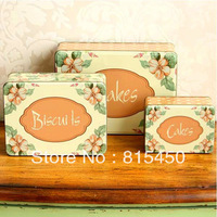 Vintage Style Jumbo Size Orange Color Flower Design Candy Can Cookie Box 3pcs/lot Storage Case Home Storage Decoratoin