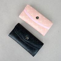 Solid color wallet long design wallet pink black