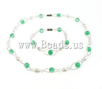 Free shipping!!!Natural Cultured Freshwater Pearl Jewelry Sets,Jewelry Brand, Rice, natural, white, 9-10mm, Length:15.5 Inch