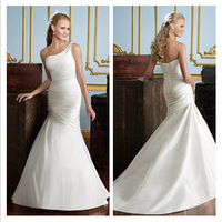 Best Selling Ivory One Shoulder Wedding Gown Dress Mermaid/Trumpet Satin Bridal Dress Free Shipping