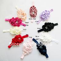 NEW Infant Girls flower Headband  Fabric Satin Flower Headbands with Acryl diamond Hair Accessory10pcs/lot Free shipping10color