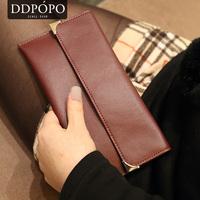 New arrival ddpopo bf brief bag cowhide wallet female design cowhide long wallet