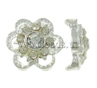 Free shipping!!!Zinc Alloy Connector,Vintage Jewelry, Flower, silver color plated, with rhinestone & 2-strand, nickel