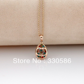 Foreign stylish letters beauty droplets necklace 18K GOLD plated pendant crystal office accessories  female
