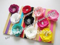 NEW Infant Girls flower Headband for Photography props Fabric Satin Flower Headbands with Acryl diamond 10pcs/lot Free shipping