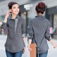 Women's slim medium-long basic plus size shirt female long-sleeve shirts autumn M-2XL High-quality