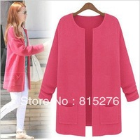 Free shipping women's loose big yards in the long sweater cardigan sweater autumn coat female coat conditioning