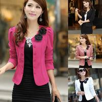 New 2015 Blazer Spring Slim Blaser Double Breasted Top Short Design Plus Size Blazer Jacket Female Suit Women Work Wear 752