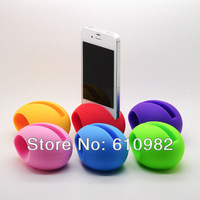 Wholesale 2 PCS Hot Sale Fashion Music Egg Shape Silicone Stander Audio Dock Loudspeaker Amplifier For iPhone 5