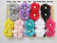 """27pcs/lot Double 2.5""""Chiffon Shabby Flowers with pearl baby headbands elastic headbands Hair Accessories 9colrosFree shipping"""