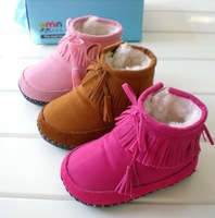 The new three-color trade leather padded soft leather sole, baby cotton shoes, baby toddler shoes--AD063