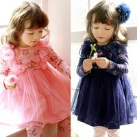 2013 New Autumn Princess Dress Children's Clothing Designer Flower Little Girls Dress Baby Clothes Line