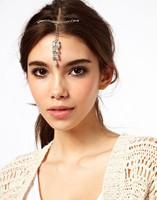 Free shipping Fashion shiny silver plated leafs imitation crystal drop hair clip hair accessory