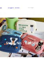 Korean version of the cartoon cat a canvas double zip wallet purse handbag Wallets