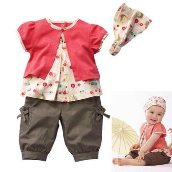 Летний комплект одежды для девочек, топ,   бриджи,   головной убор.