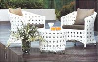 Three-piece outdoor furniture balcony rattan leisure furniture luxury hollow white wicker chair combination