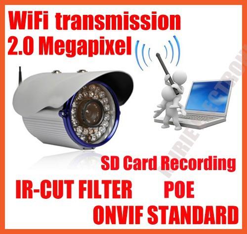 Wifi ip camera,wifi protocol 802.11b/g Onvif standard,build-in IR-Cut Fliter,IR distance:35M, With POE,With SD card Recording(China (Mainland))