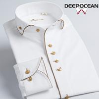 Men's long sleeve shirt white shirt dark grain business. Free shipping