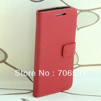 Two Credit Card Slot Stand Function Litchi Grain Leather Case for HTC One Mini M4