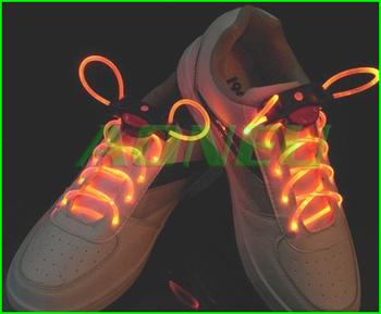 50pcs/lot(25pairs) Creative LED Optical Fiber flashing shoelaces glowing light flashing shoe lace for party free shipping