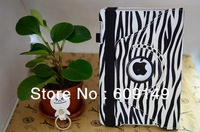 Free shipping zebra 5colours luxury protective case for ipad mini leather cover case for ipad mini with 360 degree rotating