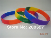 1PC, Free Shipping, Gay Pride Rainbow Colour Bracelet, Silicon Wristband, Plain Band, Promotion Gift, 202x12x2mm, Adult
