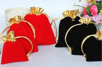 50pcs/lot 7cm*9cm Good quality gold edge flannel gift bag for jewelry display wholesale jewelry pouch free shipping