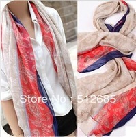 {Min.Order $15} 2013  Lady Fashion Soft  Yarn  Long Scarf  red with beige color  Shawl  Decoration