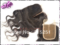 Queen hair products Virgin brazilian closure middle parting swiss lace top closures body wave 3.5x4 bleached knots free shipping