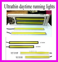 1Pair Ultra-thin 12W COB Chip 100 LED Car Daytime Light Fog Light Head Lamp, Universal DRL Waterproof Lights Cool White