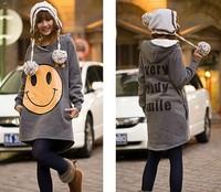 2013 Women's tops casual Big Smile Even Cap loose ladies Hoodies  Deep Grey  free shippingYL11072211-1