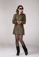 2013  Women's New Free Shipping Winter Necessary Zipper Stand Collar Long Sleeves Coat Army Green/Black LH13070402 M L XL