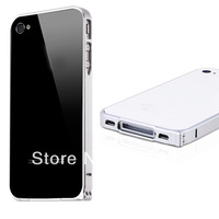 Silver Luxury 0.7mm Ultra-thin Silver Aluminum Metal Alloy Bumper Case For iPhone 4 4S  DC1316S Free Shipping Drop Shipping