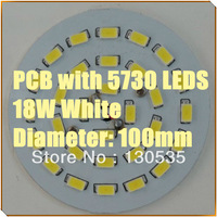 30pcs/lot 18W LED PCB with 5730 LEDS installed (DIa 100mm) 50-60LM 0.5W/LED LED PCB White color free shipping