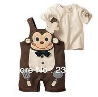 2013 hot sale Cute boy Monkey cook Supporter pants suit; t shirt+ pants short sleeve sets,3set/lot.