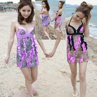 Large swimwear leopard print slim push up skirt one-piece swimsuit 10057
