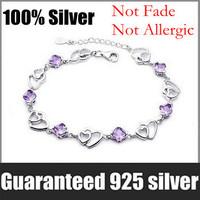 Wholesale 100% Genuine 925 Sterling Silver Platinum Plated Love Heart Amethyst Bracelet Fashion Jewelry SSB001