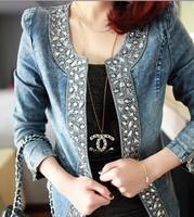 Free Shipping Denim Clothings Patchwork Outwear short Jeans Coat Classical Women Fashion Jean rivets Jacket