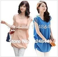 2014 summer Korean women fat MM long section of loose big yards short sleeve chiffon shirt Free Shipping