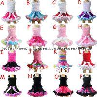 Baby Girls Ribbon Pettiskirt Sets Ruffle TUTU Skirt Set with Top  Free Shipping MOQ 1SETS 16designs