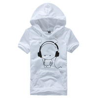 Nan white earphones cartoon sweatshirt male summer short-sleeve hoodie male short-sleeve sweatshirt male with a hood sweatshirt