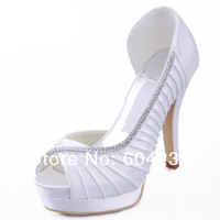 MZ545 free shipping wholesale elegant peep toes platform high heels crystal diamond white wedding shoes
