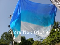 free shipping blue-sky blue-white Belly dacne silk veil f 1pcs  dance veil silk veil 250x114cm belly dance silk veil