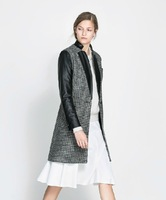 (XS-XXL)New Arrival PU Black Faux Leather Patchwork Woolen Overcoat Suit Collar Houndstooth Formal Trench For Ladies