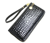 NEW 2013 CROCO patent  genuine leather wallets women long money clip wallet cowhide zippe organizer wallet/10 color/PROMOTION!